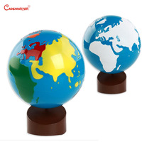 Montessori Geography World Globe Sandpaper Color Global Standard Teaching Toys for Kids Early Education Wood Materials GE045 NX3