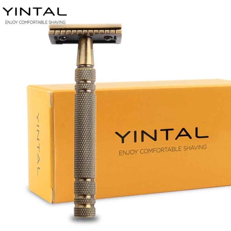 YINTAL Men's Bronze Classic Double-sided Manual Razor Long Handle Box Safety Razors Shaving 1 Razor Simple packing