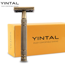 YINTAL Men's Bronze Classic Double-sided Manual Razor Long Handle Box Safety Razors Shaving 1 Razor Simple packing