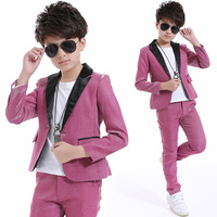 2018 Kids Jazz Dance Costumes Boys Ballroom Dancing Pink Suit Hip Hop Stage Outfit Performance Wear Children'S Clothing DNV10050