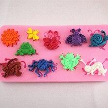 Защита от солнца и милые маленькие насекомые силиконовые торт помадкой украшение пресс fm261