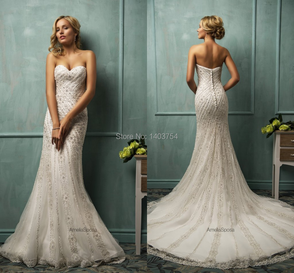 Online Shop 2015 Luxury Amelia Sposa Wedding dress Beach Bridal ...