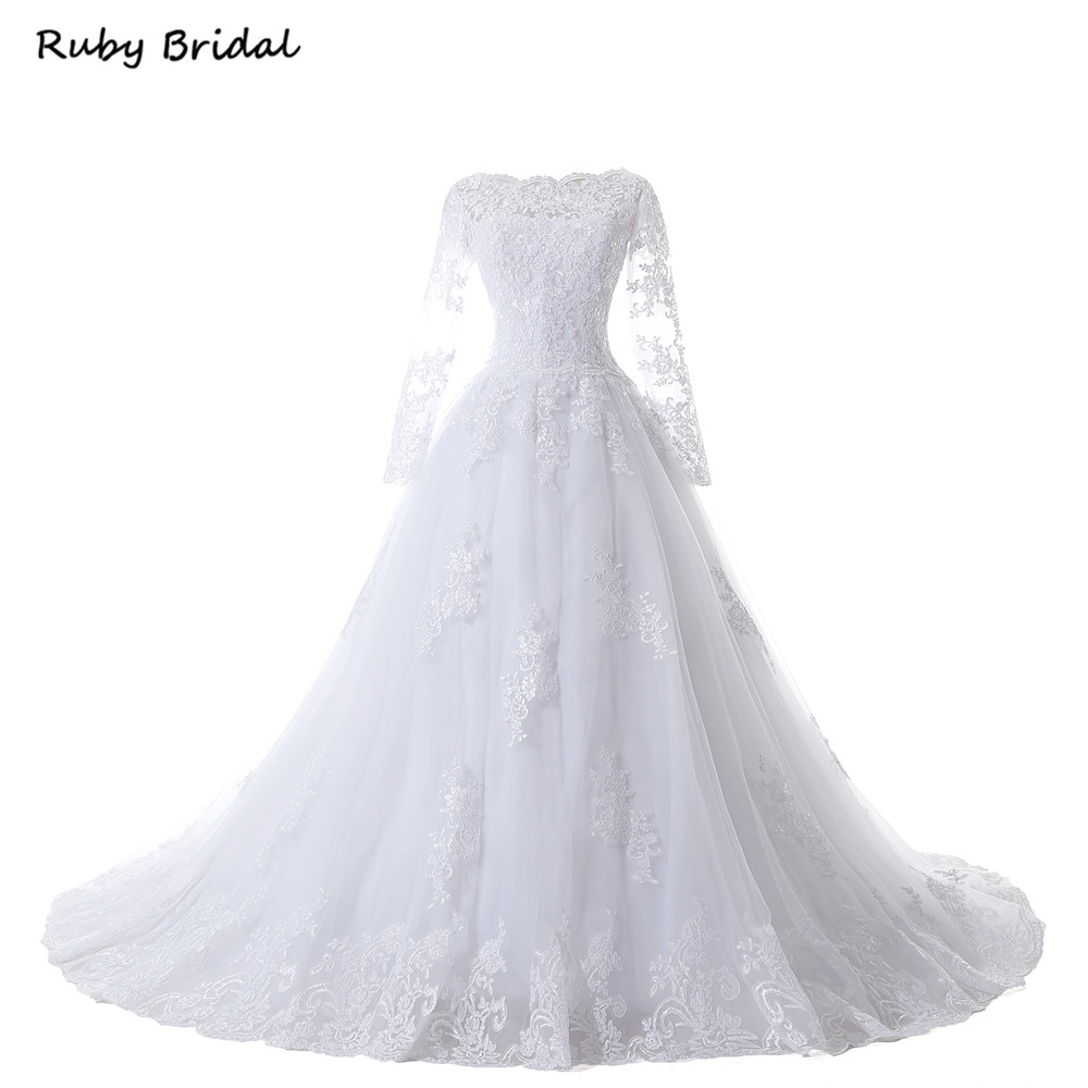 Ruby Bridal Vintage Long Sleeves Wedding Dresses Ball Gown Princess White Tulle Appliques Bridal Gowns Robe