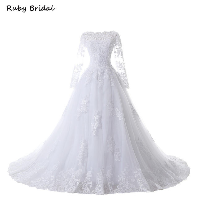 Ruby Bridal Vintage Long Sleeves Wedding Dresses Ball Gown Princess White Tulle Appliques Gowns Robe De Mariage LK99