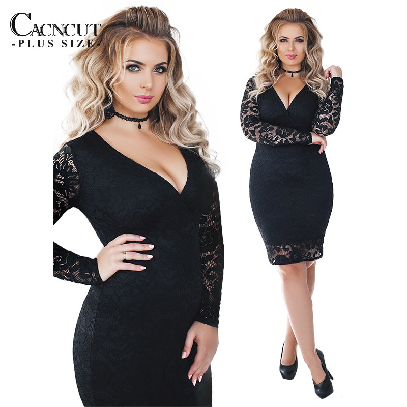 Spring Sexy 5XL 6XL Plus Size Lace Dress Women Large Size Bandage Evening  Party Dress 2018 Deep V Big Sizes Office Vestido Work-in Dresses from  Women s ... 3c7d5e21ba14