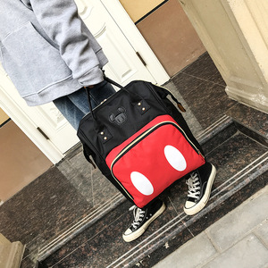 Image 2 - 2019 new Disney backpack Mickey mouse Minnie travel couple canvas shoulder bag large mother bag wear resistant student bag
