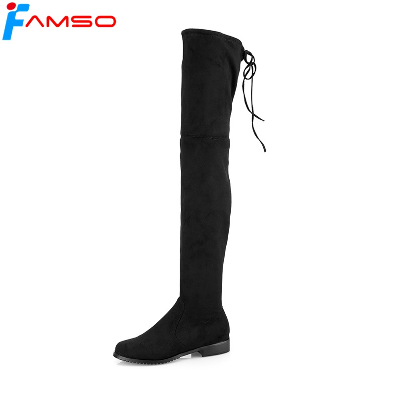 FAMSO 2018 Big Size Shoes for Women Boots Autumn over the knee boots Winter Flats Shoes Women's Warm Thigh High Boots Black Shoe цена