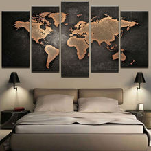 Paintings HD Abstract Canvas For Living Room Retro World Map Decoration Pictures Modular Frame