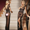 Black/Red/White Sexy Long Night Gown Transparent Sheer Mesh Night Dress Erotic Long Lingerie Women Sexy Nightwear Sleepwear