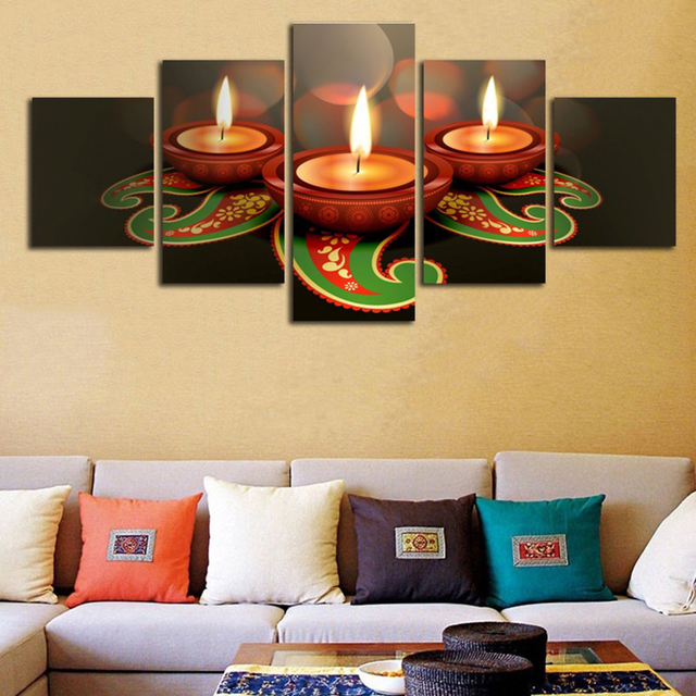Frame Painting Living Room Decoration Modular Pictures 5 Piece Animated  Clay Lamps Diwali Wall Art Home
