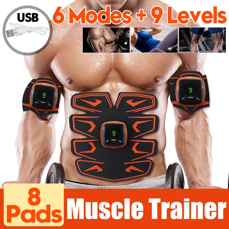 Smart EMS Vibration Abdominal Muscle Trainer Electric Pulsing Massager Stimulator USB Charging LCD Display Home Fitness Slimming