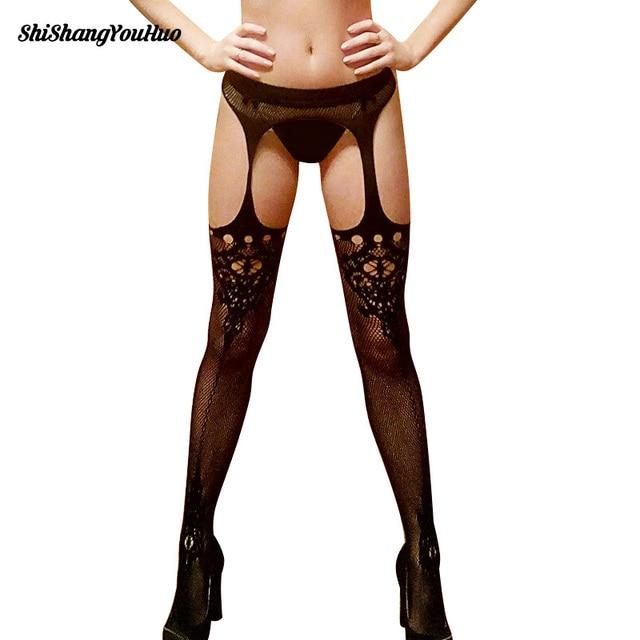 Women Sexy Lingerie Stockings Garter Belt Fishnet Tights Transparent Pantyhose Elastic Transparent Black Tights Dropshipping
