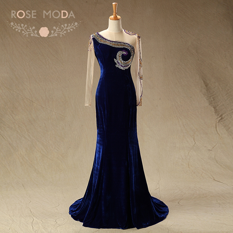 Rose Moda High Neck Long Sleeves Navy Velvet Mother of the Bride Dresses Formal Mermaid Party Dress Wedding Guest