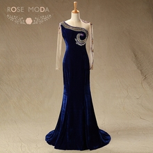 Rose Moda High Neck Lång Ärmar Navy Velvet Mor Brudklänningar Formell Mermaid Party Dress Bröllop Gäst Klänning