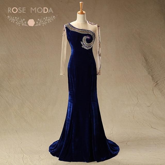 4c262ba9368e Rose Moda High Neck Long Sleeves Navy Velvet Mother of the Bride Dresses  Formal Mermaid Party Dress Wedding Guest Dress
