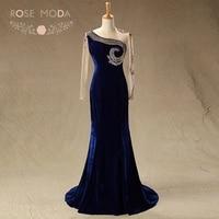 Rose Moda High Neck Long Sleeves Navy Velvet Mother of the Bride Dresses Formal Mermaid Party Dress Wedding Guest Dress