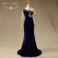 Rose Moda High Neck Long Sleeves Navy Velvet Mother of the Bride Dresses Formal Mermaid Party Dress Wedding Guest Dress