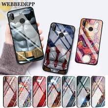 WEBBEDEPP Marvel Captain America Iron Man Heroes Glass Case for Huawei P10 lite P20 Pro P30 P Smart honor 7A 8X 9 10 Y6 Mate 20