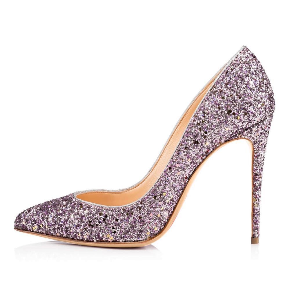 Femmes talon aiguille paillettes pompes à paillettes bout pointu peu profond brillant chaussures de mariage Banquet Bling Bling chaussures douces