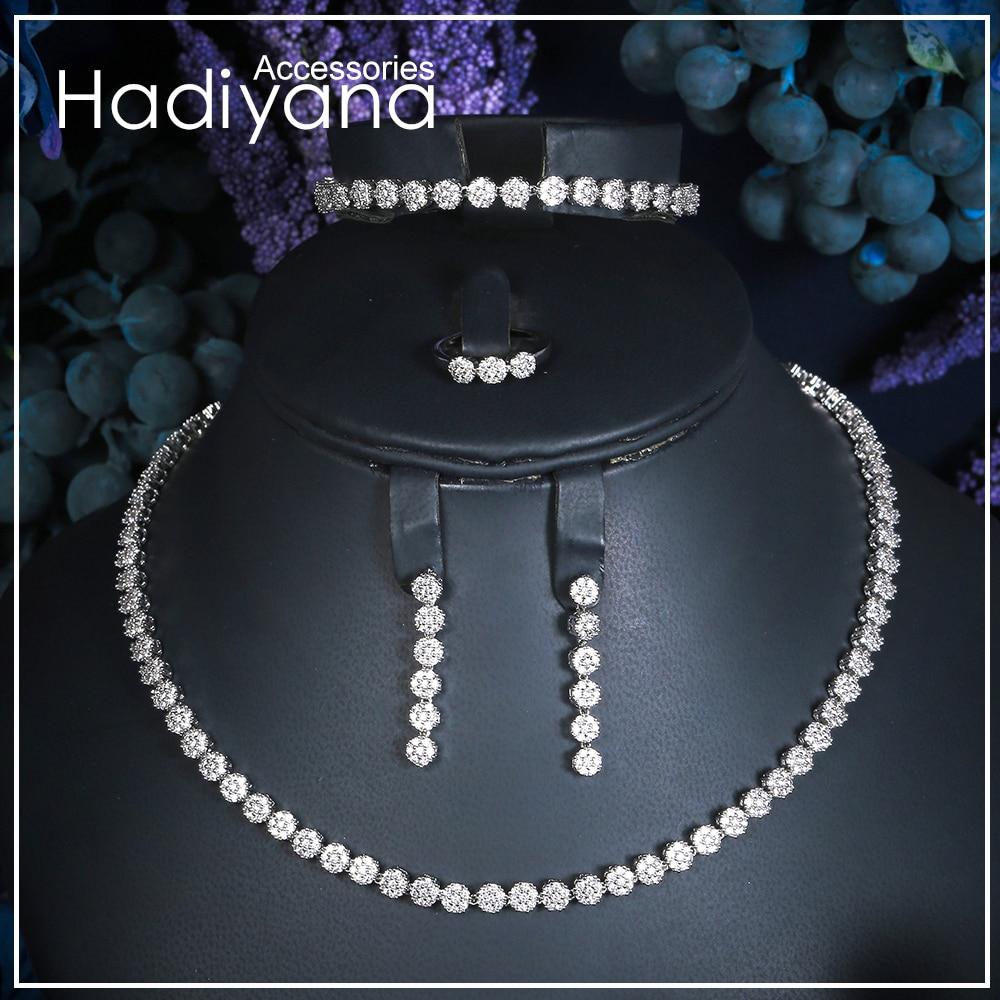 Hadiyana AAA Cubic Zirconia Statement Jewelry Set For Women Popular Wedding Accessories Jewelry Set Bridal Free