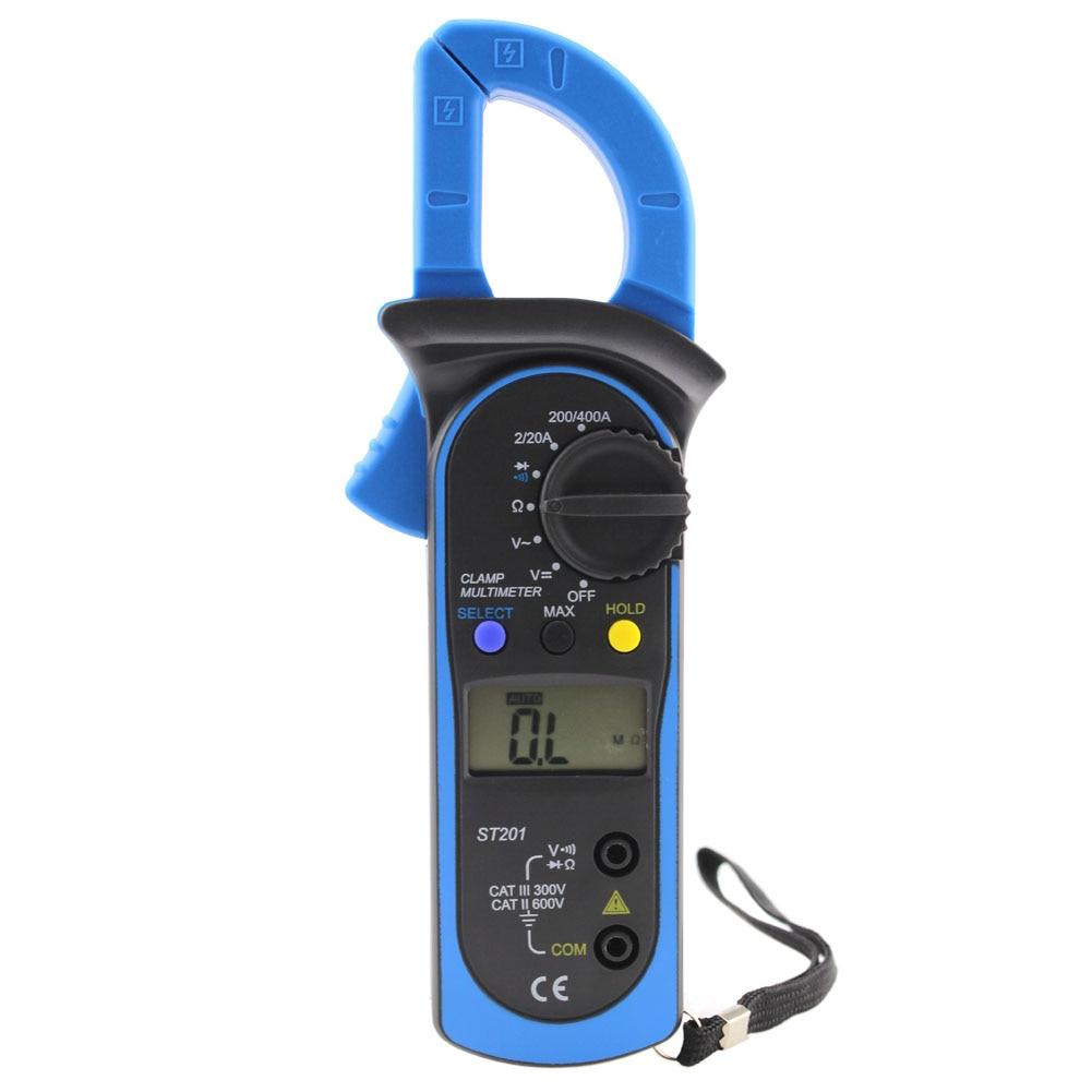 ST-201 Digital Auto Range Clamp Tester Meter Multimeter DMM AC DC Volt Ohm Current Voltage Frequency Digital Clamp Multimeters  цены