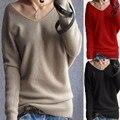 2017 Outono Inverno Mulheres Camisolas Pullovers Sexy Com Decote Em V Batwing Jumper de Manga Longa Slim Malha Tops Plus Size Puxar Femme