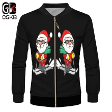 OGKB Man Christmas Trend Zip Jacket 3D Printed Ski And Sunglasses