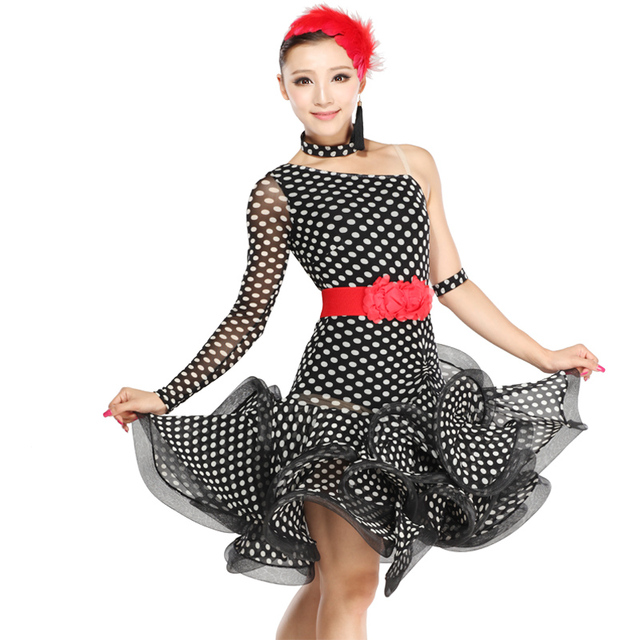 d40e574b0f0a Latin dance costume dress one should black point Latin dance skirt  dancewear performance wear polka dot hb209