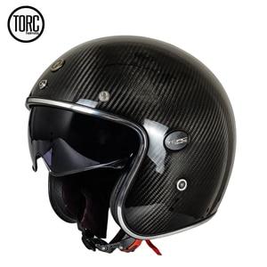 Image 2 - אופנוע סיבי פחמן 3/4 פתוח פנים בציר קסדת רחוב קפה רייסר עבור האלי Moto Casco חצי קיץ ECE