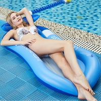 HOT 160x90cm Inflatable Sunshade Floating Bed PVC Collapsible Recliner Outdoor Water Hammock Swimming Pool Inflatable Floating