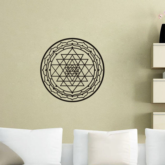 Art Mural Sri Yantra Vinyl Wall Stickers Indian Mandala Pattern