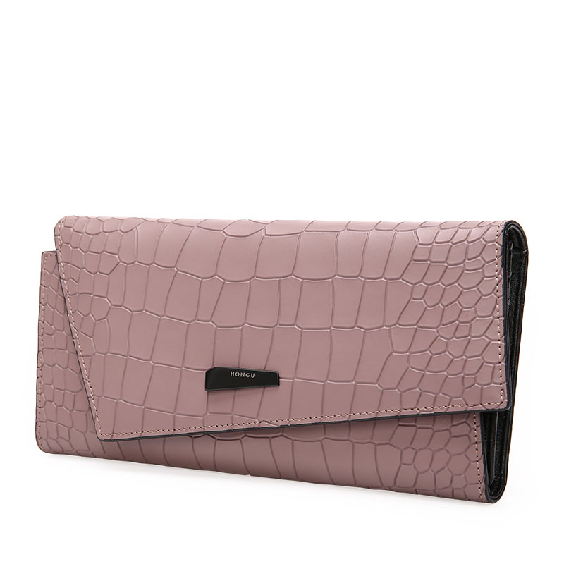 New Calfskin womens wallets and purses long style crocodile three-fold multi-card clutches women card holder lady coin purse 2016 women wallets new winter fashion solid pattern multi card position two fold wallet lady long zipper purse card holder dec26