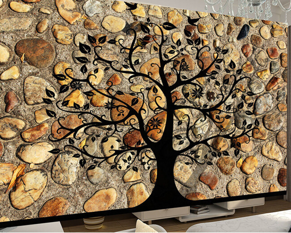 Custom de parede 3D Papel, stone texture murals for the living room sofa TV background wall paper the latest 3d murals dream of the sun exposure forest trees stone waterfall scenery living room tv sofa bedroom wall paper