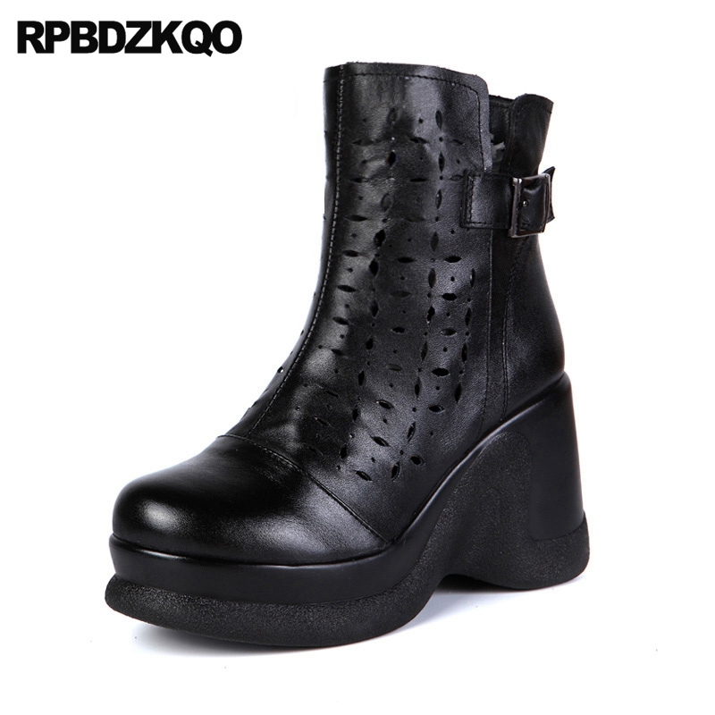 Booties Black Wedge Women Metal Sexy Fall Ankle Side Zip Boots Size 34 Platform Luxury Autumn Cut Out New Ladies Fashion 2017