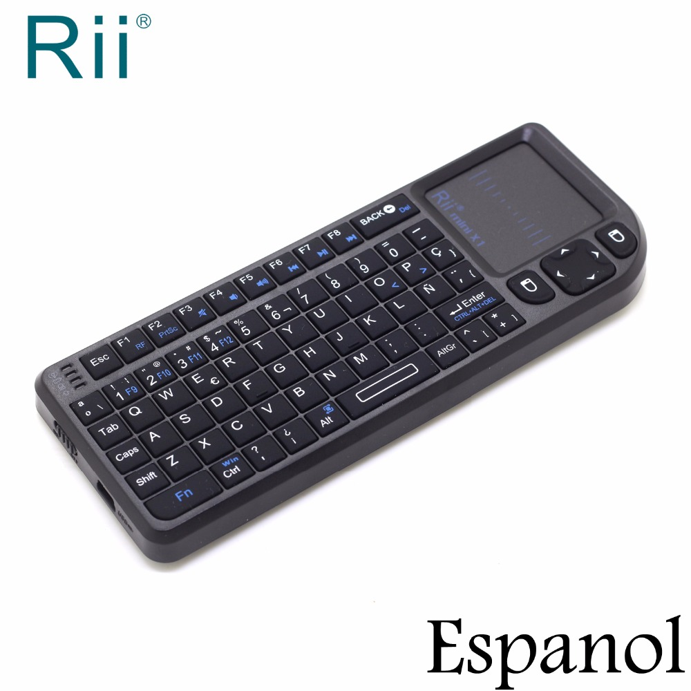 Original Rii Mini X1 Spanish Espanol Mini 2.4G Wireless Keyboard Air Mouse with TouchPad for Android TV Box Teclado Inalambrico стоимость