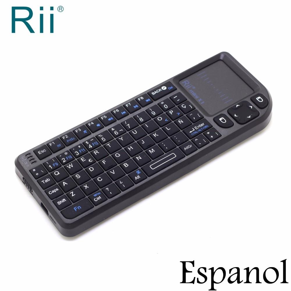 все цены на Original Rii Mini X1 Spanish Espanol Mini 2.4G Wireless Keyboard Air Mouse with TouchPad for Android TV Box Teclado Inalambrico