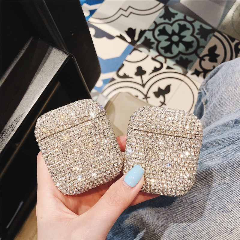 Image 4 - Luxury 3D Bling diamonds hard case for Apple Airpods 1 2  protective Wireless Bluetooth Earphone Accessories cover Charging box-in Earphone Accessories from Consumer Electronics