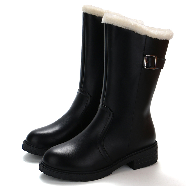 2018 جديد منتصف العجل المرأة احذية المطر الخريف مريحة الفراء داخل حذاء أسود امرأة 4 سنتيمتر ميد الكعوب الإناث عارضة مشبك الأحذية