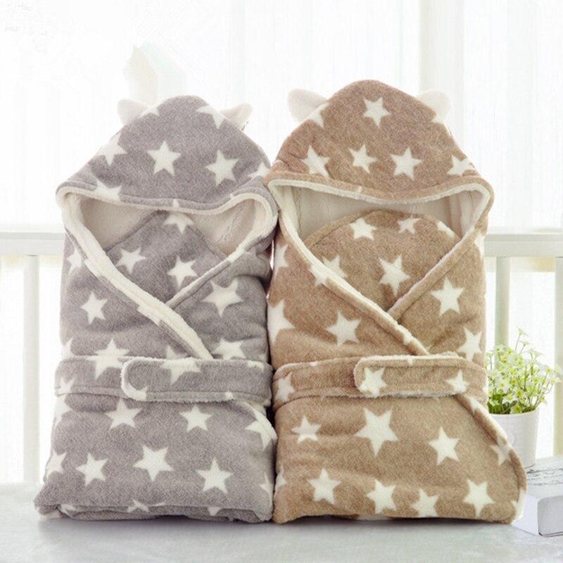 1 Pcs Warm Coral Fleece Baby Sleeping Bag Blanket Star Print Infant Newborn Envelope Sleepsacks Comfortable Thicken Swaddle