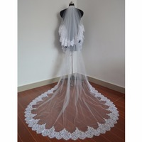ZYLLGF 3M Wedding Veil Two Layer Lace Edge Cathedral Bridal Veils With Comb Voile Mariage Long Accessoire De Marriage BL1