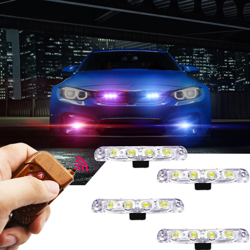12V Strobe Warning light 4x4/led 4 in 1 Wireless Remote Car Truck Light Flashing Firemen Lights LED DRL Ambulance Police lights цена и фото
