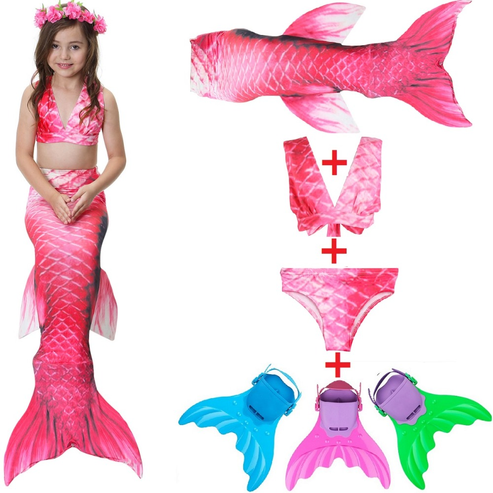 Red 2018 HOT!Ariel Swimming Little Mermaid Tail with Monofin Flipper Bikini Girl Children Swimmable Mermaid Tail Costome Cosplay