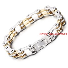 9″*10mm Fashion Crystal Jewelry New 316L Stainless Steel Silver Gold Men Women Biker Bicycle Motorcycle Chain Bracelet Bangle