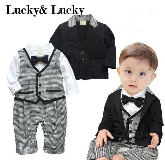 Cavalheiro bebê menino roupas festa roupas bebê recém-nascido menino bebê nascido roupas macacão + casaco 2 pçs/set