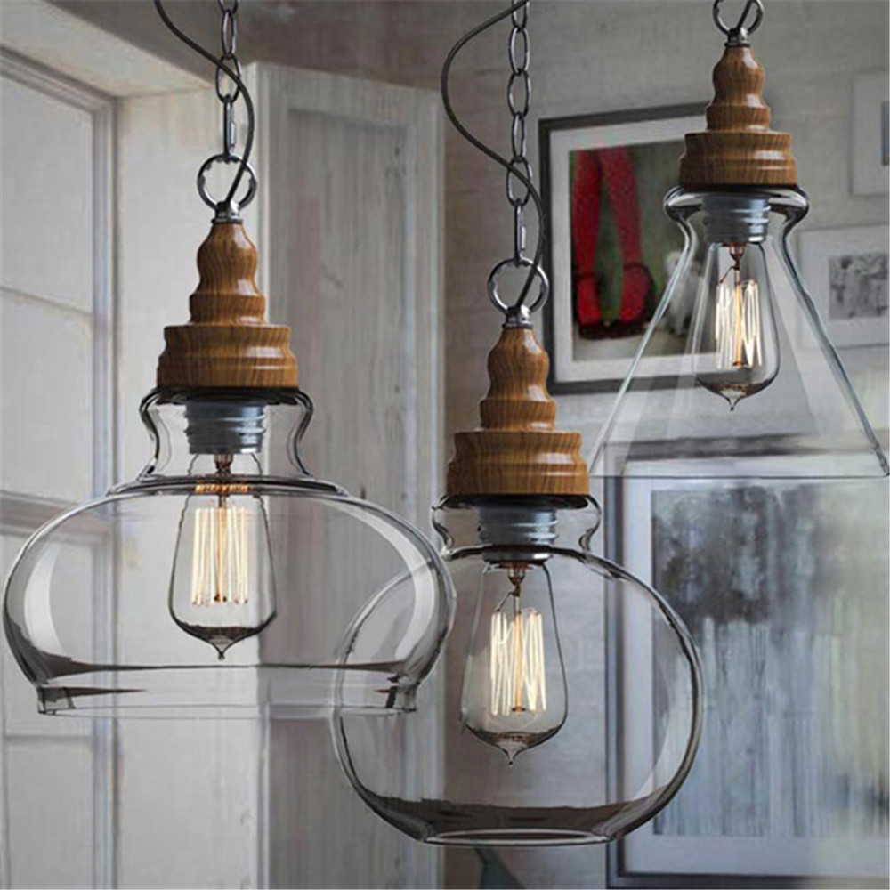 Creative Loft Style Vintage Industrial Pendant Lights Three Shades Glass  Ceiling Lamp For Office Kitchen Bar Study Home Decor In Pendant Lights From  Lights ...