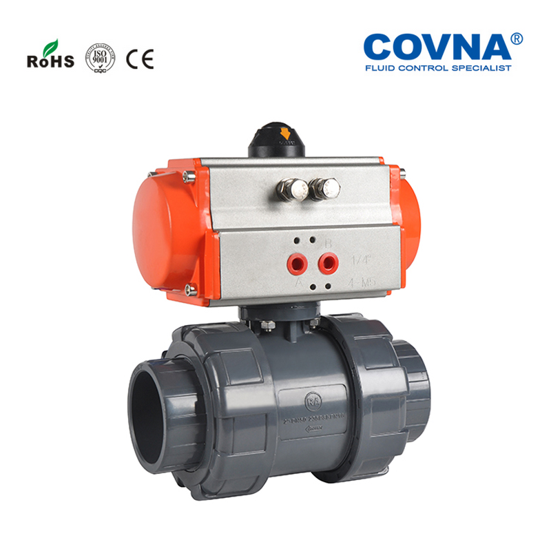DN32 PVC Pneumatic Ball Valve Double Union Double Acting Plastic 1-14 inch Pneumatic 2 Ways Ball Valve PTFE Sealing Full Port
