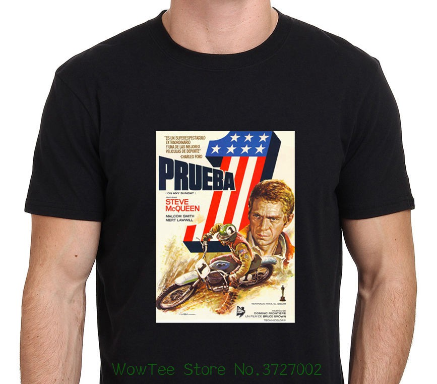 Steve Mcqueen On Any Sunday Classic Movie Mens Black T-shirt Size S - To - Xxl Casual Short Sleeve Shirt Tee