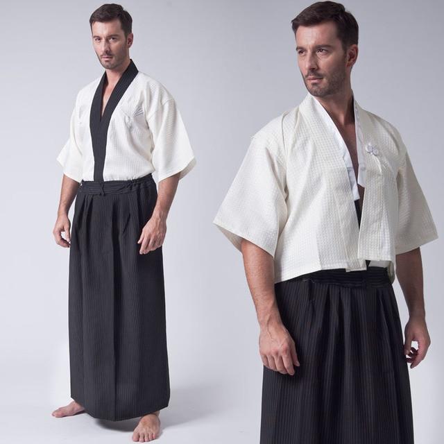 4aa82e9c0 Vintage 3PC Japanese Men Warrior Kimono Traditional Yukata Haori Samurai  Clothing Stage Performance Costume One Size