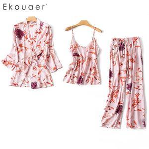 Image 4 - Ekouaer pyjama dété en Satin de soie, manches longues, motif Floral, ample, Kimono, pour femmes, ensemble de vêtements de nuit