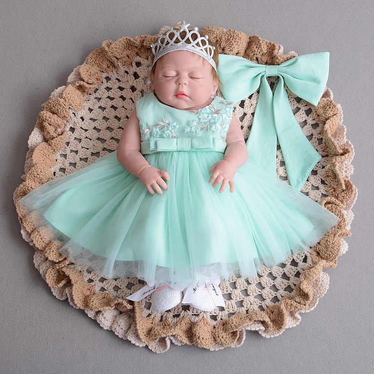 Платье-пачка для новорожденных, платье для девочек с цветочным принтом, повязка на голову, Новинка лета, одежда для крещения для девочек на первый день рождения
